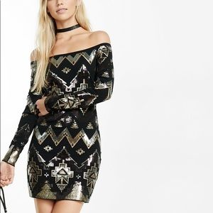 NEW: Express Off the Shoulder Deco Sequin Dress